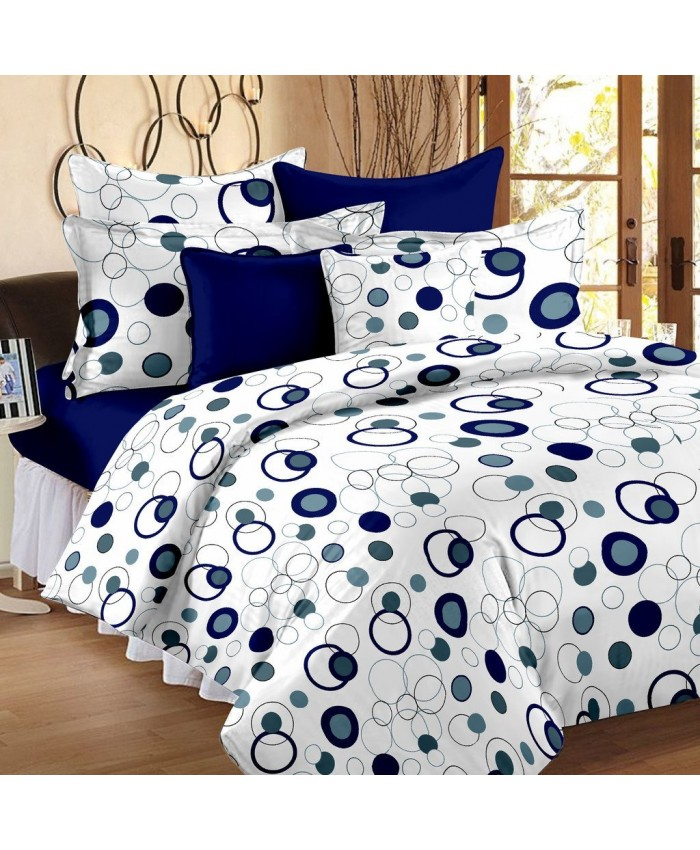 Ethnic Handicraft 152TC Cotton Double Bedsheet with 2 Pillow Covers - Blue Cotton Bedsheets For Double Bed